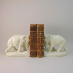 Ivory Elephant Bookends American Art Pottery