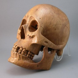 Hand-carved memento mori human skull